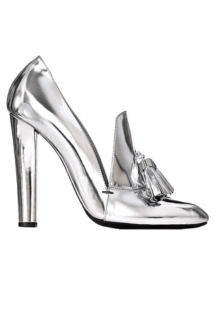 Alexander Wang Anais Metallic Leather Loafer Pumps